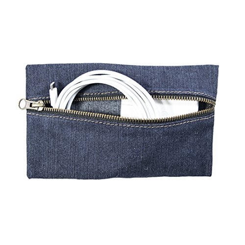 Hide & Drink Repurposed Denim All Purpose Utility & Charger Case for MacBook, iPad & Laptop Handmade