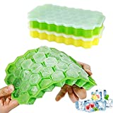 Ouddy Ice Cube Trays, 2 Pack Silicone Ice Cube Molds with Removable Lid, 74 Cubes Stackable Flexible Ice Tray for Whiskey Storage, Cocktail, Beverages
