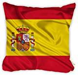 "Rikki Knight Spain Flag Design 18"" Square Microfiber Throw Decorative Pillow with DOUBLE SIDED PRINT (Insert NOT included)"