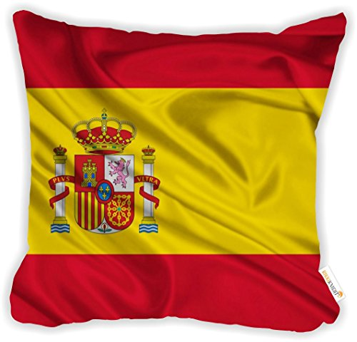 """Rikki Knight Spain Flag Design 18"""" Square Microfiber Throw Decorative Pillow with DOUBLE SIDED PRINT (Insert NOT included) by Rikki Knight"""