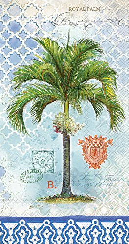 Celebrate the Home Vintage Tropical 3-Ply Paper Guest/Buffet Napkins, Royal Palm, (Tropical Palm Dinner)
