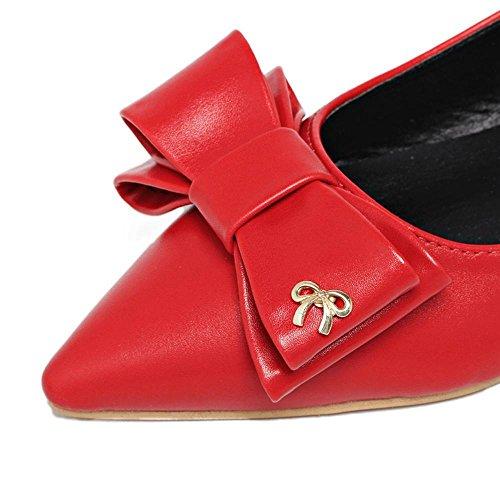 cooshional Damen Ballerinas Schleife Elegant Sommer Strass Flache Schuhe Rot