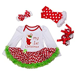Bigface Up Baby Girls My First Christmas Costume Party Dress Tutu Outfits 4PCS Set(White+Green(sock) M)