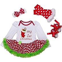 Bigface Up Baby Girls My First Christmas Costume Party Dress Tutu Outfits 4PCS Set