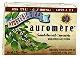Sandalwood Soap (Sandalwood Oil Bar Soap) with Turmeric Extracts - Handmade Herbal Soap (Aromatherapy) with 100% Pure Essential Oils - ALL Natural - Each 2.75 Ounces - Pack of 6 (16 Ounces)- Auromere