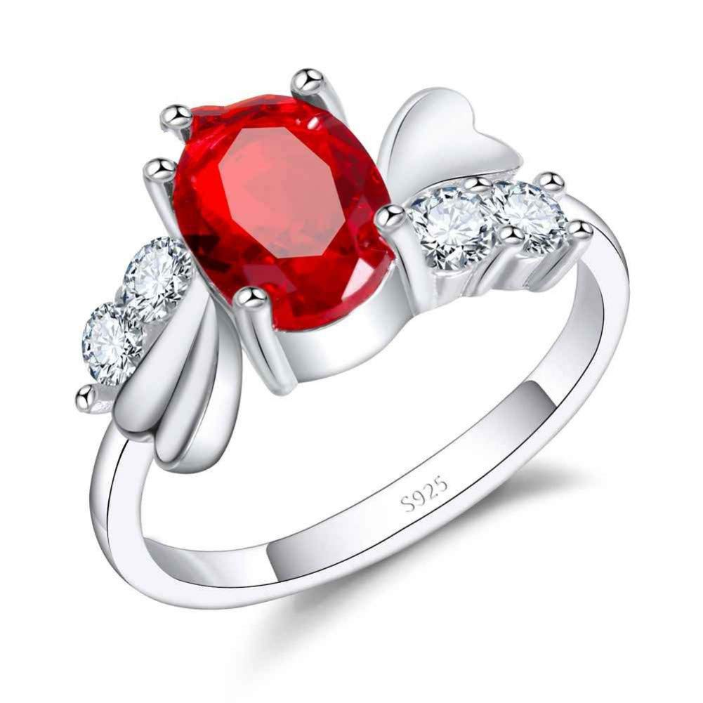 HCBYJ Lady ring 925 Sterling Silver Jewelry Ring Female Wedding Accessories red Austrian Crystal Ring
