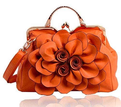 Pinchu Femme Sac Avec Décoration Florale En Forme De Fleur, Rouge Orange