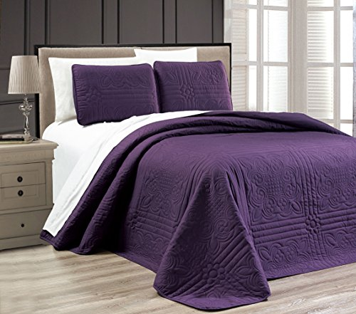 "3-Piece DARK PURPLE Oversize ""Stella Grande"" Bedspread KING / CAL KING Embossed Coverlet set 118 by 106-Inch"