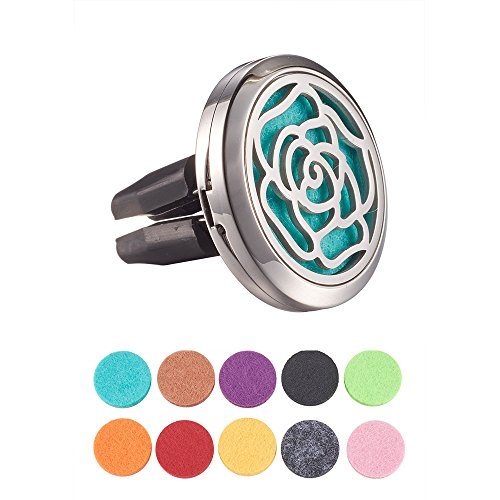 ATMOMO Rose Aromatherapy Car Vent Clip Stainless Steel Car Essential Oil Diffuser Car Mini Vent Locket Clip for Valentine's Day with 10 Pads