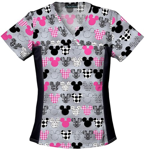 Disney Women's Disney Cherokee V-Neck Knit Panel Top Big Minnie, Mickey, 4X-Large (Disney Discount Code)