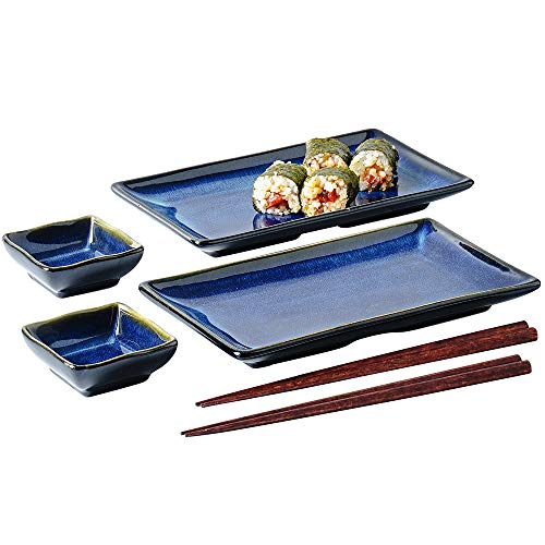 Ceramic Sushi Serving Tray Sets 2, 6 Pieces Japanese Style Porcelain Sushi Plate Dinnerware with Soy Sauce Dishes…