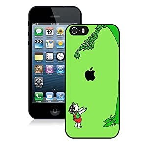 Elegant Iphone 5s Case Boy and Apple Tree Green Background Black Phone Cover for Iphone 5
