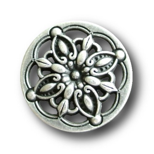 Knopfparadies Sewing Buttons - Set of 5 Stunning Metal Buttons, Filigree Sunburst Pattern, Floral Design - Ø approx. 15mm