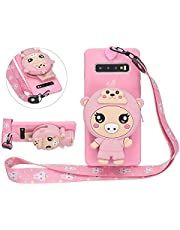 Solid Color Matte Silicone Case for Samsung Galaxy S10 with 3D Pig Zipper Wallet and Lanyard Strap, DasKAn Cute Cartoon Animal Design Soft Shockproof Protective Cover,Pink