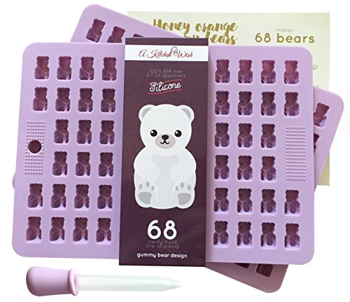 2 Pack (136 Bears) Gummy Bear Candy Mold - 68 Cavities - Bonus Dropper & Recipe Card - Food Grade, 100% BPA Free & FDA Approved Silicone - Perfect For Chocolate, Jelly, Ice Cubes Too