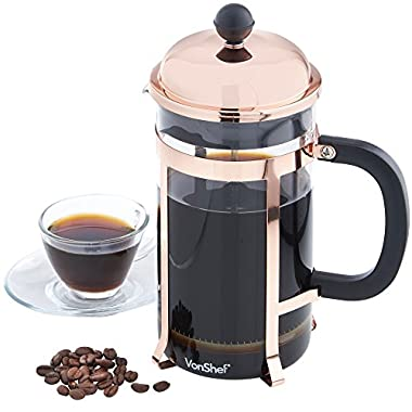 VonShef 8 Cup Glass French Press Cafetiere Coffee Maker 1 Liter 340z - Copper