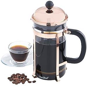 vonshef 8 cup glass french press cafetiere coffee maker 1 liter 340z copper. Black Bedroom Furniture Sets. Home Design Ideas