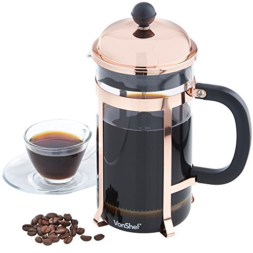 VonShef 8 Cup Glass French Press Cafetiere Coffee Maker 1 Li