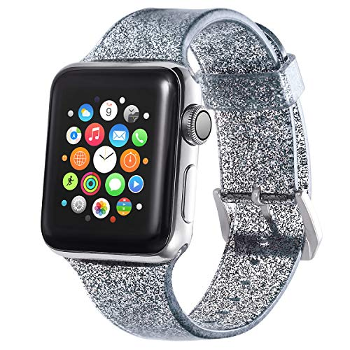 Compatible with Apple Watch Band 38mm 40mm, Libra Gemini Glitter Bling Silicone Replacement Band Compatible with Apple Watch Series4/3/2/1