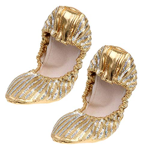 Transpirable Pares Calzado Gimnasia 2 Zapatos B De Danza Ballet L Zapatillas Antideslizante Baosity Lentejuelas Xl Con EvqwYaF