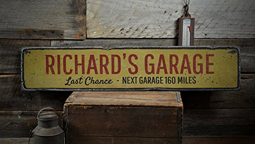 Last Chance Garage Wood Sign, Personalized Mechanic Shop Owner Name Decor, Car Lover Gift - Rustic Hand Made Vintage Wooden Sign - 5.5 x 24 Inches (Last Chance Garage)