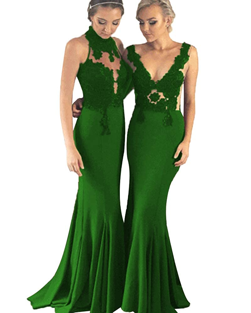 Emeraled Greenb SDRESS Women's Lace Applique Mermaid Bridesmaid Dress Illusion Evening Gowns Long Prom Dress
