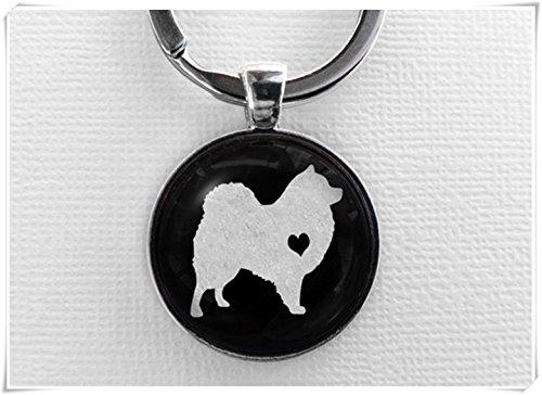 (Dandelion Samoyed Keychain, Glass Dome Pendant Keyring, Cute Dog Lover Gift, Round Art Charm Jewelry,Pet Memorial Key Chain)