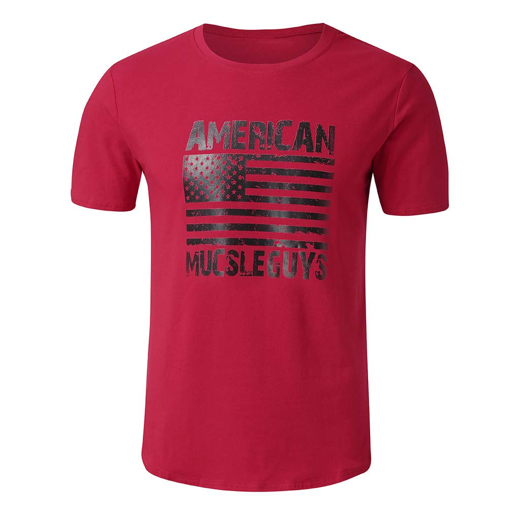 Mens Short Sleeve Tops,American Flag Graphics Shirts Muscle Sports Blouse Workout Fitness Elastic/T Shirt