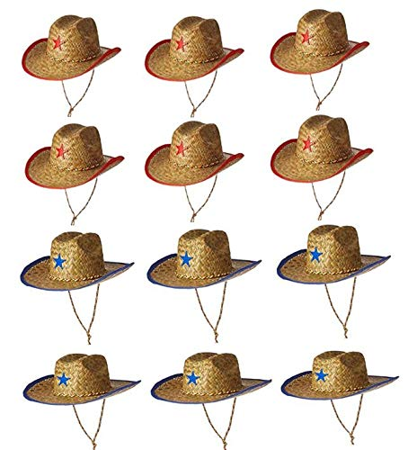 Fun Express Childs Straw Cowboy Hat with Plastic Star - 12 Pieces (Western Table Set)
