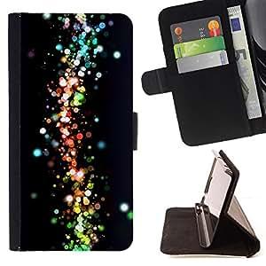 - Neon Dots Space Galaxy Colors - - Prima caja de la PU billetera de cuero con ranuras para tarjetas, efectivo desmontable correa para l Funny HouseFOR Samsung Galaxy A3