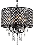 Monet 4-light Black-finished 17-inch Crystal Round Chandelier For Sale