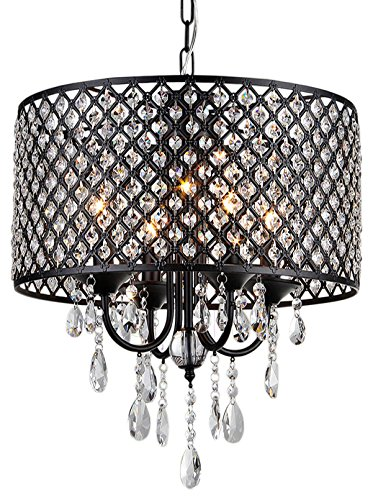 (Monet 4-light Black-finished 17-inch Crystal Round Chandelier )