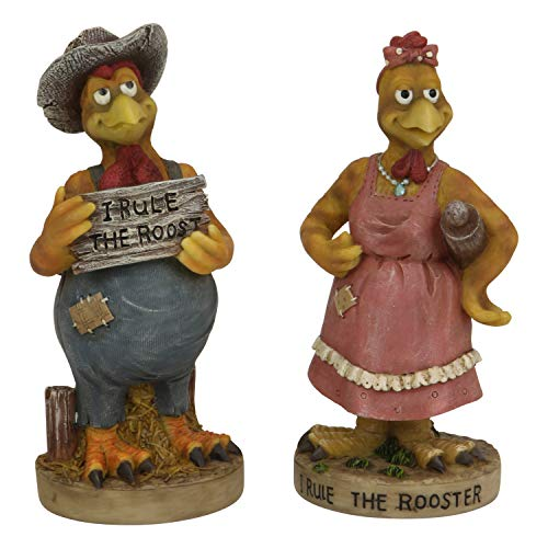 - Trippies Rule The Roost Rooster and Chicken Poly Figurines 2 Piece Set - Comical Polyresin Statues - Farm Animal Country Kitchen Decor