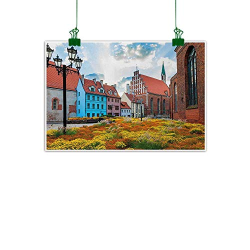 (Warm Family Victorian Chinese Classical Oil Painting Old City Riga Latvia Capital with Historical Buildings Medieval Town Image Print for Living Room Bedroom Hallway Office 20