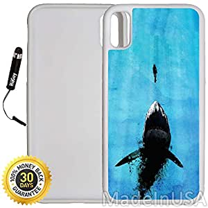 Custom iPhone X Case (Watch Out For Sharks) Edge-to-Edge Rubber White Cover with Shock and Scratch Protection | Lightweight, Ultra-Slim | Includes Stylus Pen by INNOSUB
