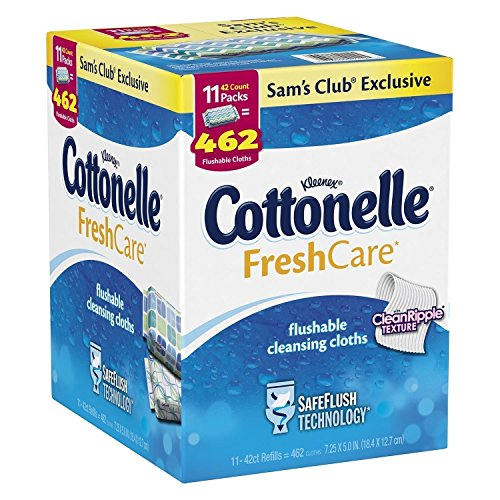Kleenex Cottonelle Flushable Cleansing Cloths Fresh Care Refill, 462 Count(11 Packs of -