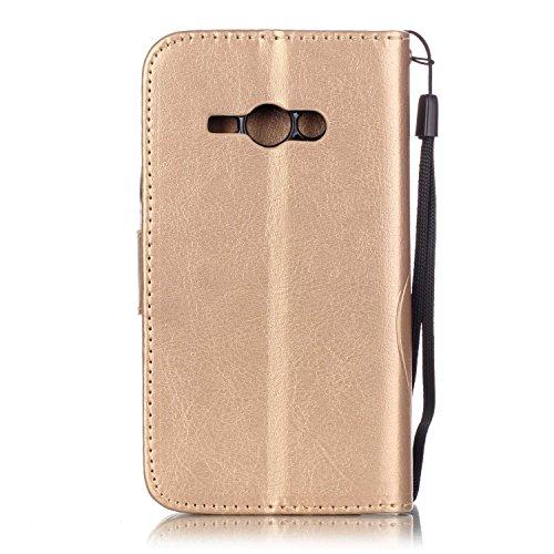 SRY-Funda móvil Samsung Funda Samsung Galaxy J1 ACE, funda de cuero de la PU, caja de la caja del caso del estuche plegable de la caja del estuche de la caja del rhinestone de la resina para Samsung G Golden