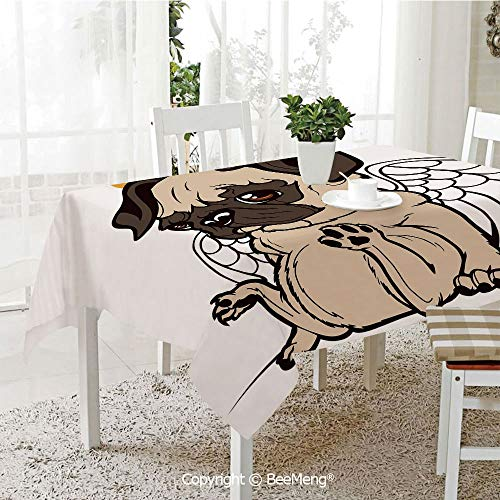 (Spring and Easter Dinner Tablecloth,Kitchen Table Decoration,Pug,Pug Puppy Angel with a Hare on Its Head and Beautiful Angel Wings Heaven Religious,Cream Gold,59 x 83)