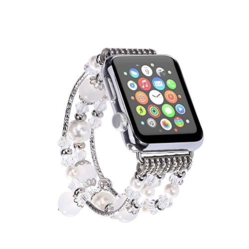 Solomo Bracelet Compatible for Apple Watch 42MM 44MM, [Jewel Series] Luxury Handmade Elastic Stretch Faux Agate and Crystal Bracelet Replacement with Women Wristband for iWatch Series 4/3/2/1 (White)