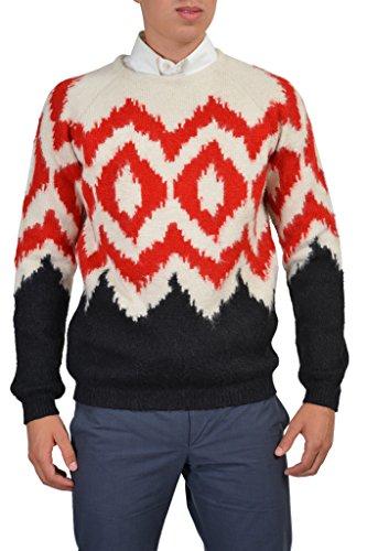 Prada Men's Alpaca Wool Multi-Color Long Sleeve Crewneck Sweater