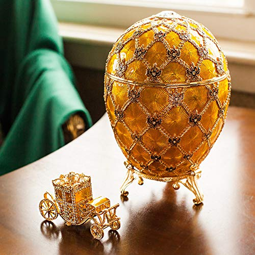 OrlovNY 9-Inch Swarovski Crystals Faberge Egg: Imperial Golden Coronation Faberge Style Egg Box Jewelry Box Limited Edition Collectible