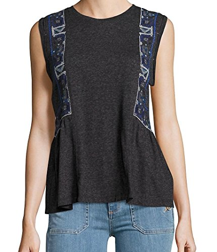 Free People Charcoal (Free People Charcoal Blue Embroidered Women's Blouse Gray XS)