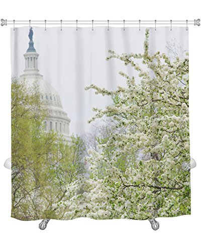 Washington State Shower Curtain (Gear New Capitol Building Dome Spring Blossoms Washington Dc United States Shower Curtain, 74