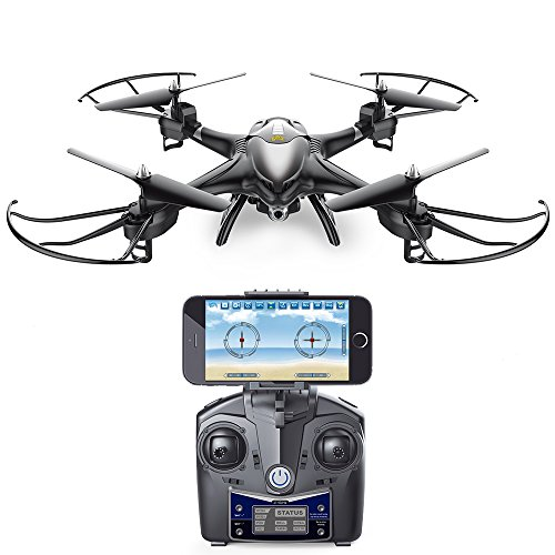 Holy-Stone-HS200W-FPV-RC-Drone-with-HD-Wifi-Camera-Live-Feed-24GHz-4CH-6-Axis-Gyro-Quadcopter-with-Altitude-Hold-Gravity-Sensor-and-Headless-Mode-RTF-Helicopter-Color-Black