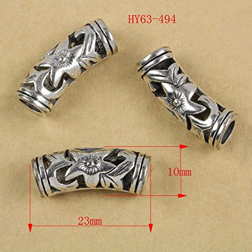 HYBEADS 63-494 20per Spacer Beads Hollow Curved Tube Antique Silver Cross Pattern Carved