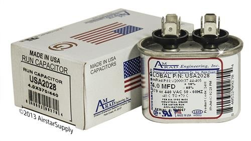 Pack 4 uf//Mfd 370//440 VAC AmRad Oval Universal Capacitor Jard 12928 Replacement Made in The U.S.A. 2
