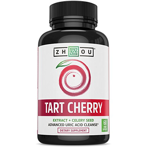 Tart Cherry Extract Capsules with Celery Seed - Advanced Uric Acid Cleanse for Joint Comfort, Healthy Sleep Cycles & Muscle Recovery - Potent Polyphenols Supplement - 60 Veggie Capsules