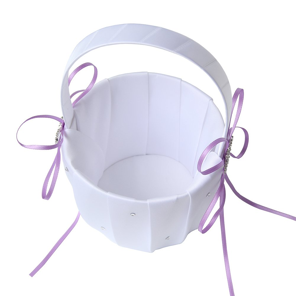Lanting Home Decor 2 Packs Handle Flower Girl Basket with Satin Ribbon and 2 Rhinestone Hearts for Rustic Wedding Bride Shower Ceremony Party,Lavender by Lanting Home Decor (Image #3)