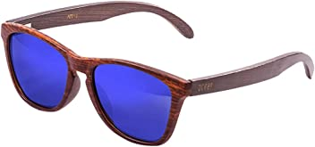 655ea14cae5 Ocean Sea Wood Dark Brown Frame Arms Revo Blue Lens Sunglasses