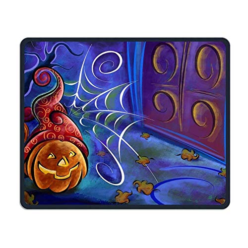 LegendLife Non-Skid Natural Rubber Mouse Pad Computer Gaming Mousepad Halloween Pumpkins and Spider Web Drawing ()